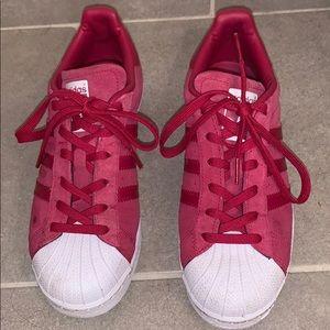 Red Adidas Superstars US 6.5 EUR 38